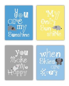 Elephant Art You are my sunshine Yellow and Gray by LittlePergola