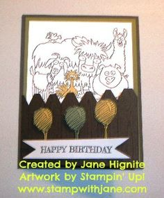 Stampin' UP! Farewell From the Herd  Birthday Cards, card format ideas, fencepost technique, Kid Cards, Masculine cards, Punch Ideas, quick and easy techniques, Stampin' Up! From the Herd stamp set, Stampin' Up! Hardwood stamp set, technique tuesday, triangle punch, Birthday Cards, Cards, Masculine Cards, Punch Art Cards, Quick and Easy Cards, Techniques, stampwithjane, www.stampwithjane.com