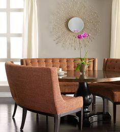 Curved Dining Banquette | Terra Cotta Curved Banquette from Neiman Marcus, $1,999