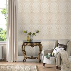 Living room inspiration on pinterest designer wallpaper for Brown and cream living room wallpaper