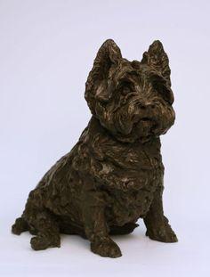 #Bronze #sculpture by #sculptor Lorne Mckean titled: 'West Highland Terrier (Bronze Portrait Pet sculptures)'. #LorneMckean