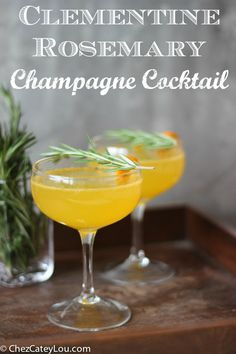 Clementine Rosemary Champagne Cocktail #BitterBubbles