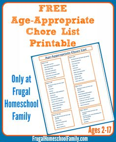 Free Age-Appropriate Chore List (ages 2-17)