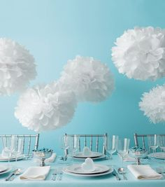 White Pom Poms   @Martha Stewart Crafts White Pom Poms can be found at @Jo-Ann Fabric and Craft Stores   DIY Wedding Decorations
