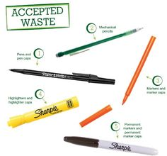 Writing Instruments Brigade Accepted Waste - We're bound to collect lots of these! Art Classroom, Classroom Organization, Classroom Management, Teacher Tools, Teacher Resources, Mafia, Green School, Recycling Programs, Student Council