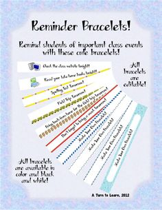 help your students remember everything with these editable reminder bracelets!!! 4$ for 31 designs!