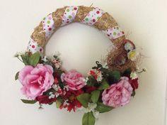 Summer floral wreath, straw summer wreath, pink and red floral wreath, redbird wreath, summer wall or door decor, wreath for summer by StylishDecorbyGClark on Etsy