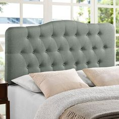 definitely want upholstered headboard, but kris wants to make sure we don't get too girly in our room