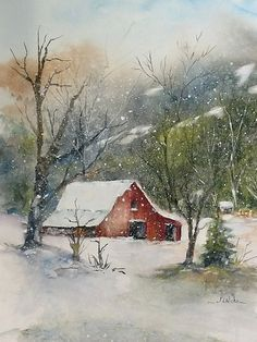 illustration landscape paintings ideas snow for 16 16 Ideas For Snow Landscape Illustration PaintingsYou can find Watercolor landscape and more on our website Watercolor Barns, Watercolor Landscape Paintings, Watercolor Trees, Watercolor Painting, Watercolor Sunset, Watercolors, Barn Paintings, Watercolor Pictures, Watercolor Sketch