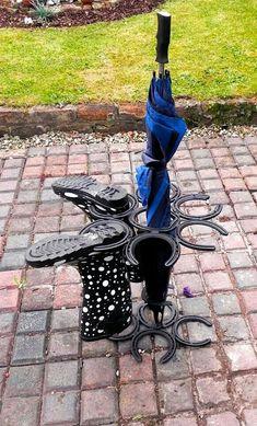 Horse shoe boot rack