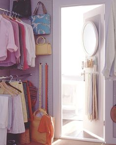 if you are fortunate enough to have a walk-in closet use pegboard to hang purses or other accessories