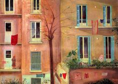 back side of apartment houses_giannis migadis Greek Paintings, Open Gallery, Greek Art, 10 Picture, Mixed Media Painting, Color Of Life, Artist Painting, Art Day, Art Boards