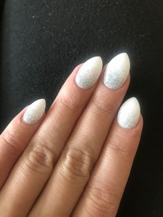 Ombré nails white and iridescent silver. Glitter. Coffin. Almond. Powder dip. Real nails. Done by Jessica at Beauty Zone in Houston.
