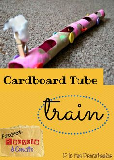 Cardboard tube train craft for preschoolers - proudly kid-made! Craft Activities For Kids, Diy Crafts For Kids, Toddler Activities, Preschool Activities, Art For Kids, Train Activities, Craft Ideas, T Is For Train, Train Crafts