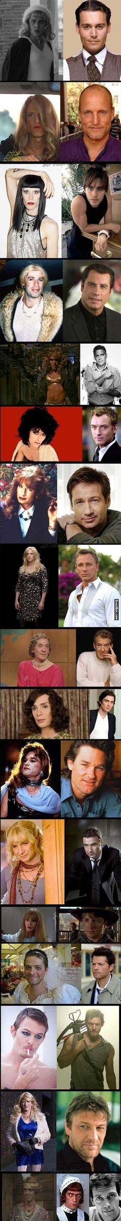 Cross dressing famous actors - #funny, #lol, #fun, #humor, #gag, #lolpics, #Funnypics,