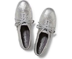 KEDS CHAMPION METALLIC CRINKLE SILVER LEATHER SNEAKERS SHOES WOMEN'S SIZE 9.5 NI #Keds #Tennis