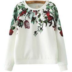 Chicnova Fashion Round Neck Sweatshirt ($22) ❤ liked on Polyvore featuring tops, hoodies, sweatshirts, sweatshirt hoodies, white sweatshirt, round neck top, white top and sweat shirts
