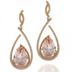 Earrings in 18K rose gold set with Morganites and Diamonds by Vianna Brasil