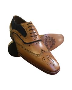 awesome Tan Leather and Navy Suede Wing Tip