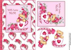 Cup of love for Mum on Craftsuprint designed by Barbara Alderson - cute bear in a teacup with lots of love for Mum on Mother's Day or Birthday - Now available for download!
