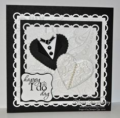 Happy I Do Day Bride & Groom Hearts by Card Shark - Cards and Paper Crafts at Splitcoaststampers