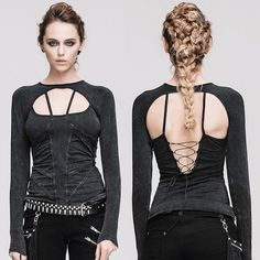 Sexy Black Long Sleeve Gothic Fashion Tops Clothing for Women SKU-11409438