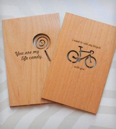"""I want to ride my bicycle with you"" laser cut wood greeting card - and 20% off until Valentine's Day! -MP"