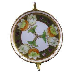 "Rosenthal Bavaria Pickard Studios ""Tulip in Lustre"" Design Handled Dish (Signed ""Fish"" for Emil Fischer/c.1910-1912)"