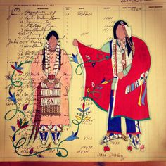 "Ledger Art by Avis Charley. ""Come Hither"" depicts a courting scene. Native American Artwork, Native American Crafts, Native American Pottery, Native American Artists, American Indian Art, Native American Indians, Plains Indians, Indian Arts And Crafts, Native Design"