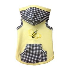 The Baby Bumble Hoodie by Ruff Ruff Couture? Featuring soft yellow jersey and a black and white gingham hood with matching pocket, this Baby Bumble Hoodie is perfect for your darling pooch. Cheap Dog Clothes, Large Dog Clothes, Puppy Clothes, Pet Fashion, Animal Fashion, Dog Christmas Clothes, Pet Style, Designer Dog Clothes, Baby Couture
