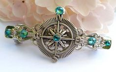 Small hair clip in turquoise silver with compass, navigation hair clip | Jewelry-treasure-chest - Accessories on ArtFire