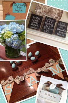 Shower decor for baby boy! I love this banner & chalkboard ideas!