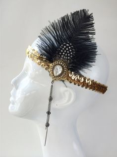 Great Gatsby Flapper inspired 1920's Gold & Black Feather Headband, costume headband, halloween costume, themed party, roaring 20's H165