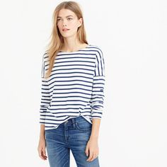 """Saint James has been spinning some of the world's finest knits out of its Normandy-based factory since 1889 and has become famous for its Breton shirt, a nautical-inspired style featuring classic stripes. Designed exclusively for us, this airy cotton version features a roomy body and slimmer sleeves. <ul><li>Loose fit.</li><li>Body length: 23 3/4"""".</li><li>Cotton.</li><li>Machine wash.</li><li>Made in France.</li><li>Select stores.</li></ul>"""