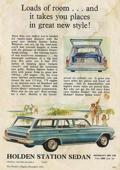 "An old article on these beautiful beasts the EH Holden station wagons (marketed as ""Station Sedans"" to show that the body style doesn't yield a second-class car) Holden Wagon, Holden Australia, Australian Cars, Old Pickup, Car Advertising, Old Ads, Station Wagon, Car Car, Vintage Advertisements"