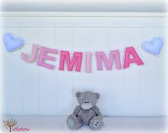 Personalized felt name banner wall art nursery decor - nursery decor - pink ombré - MADE TO ORDER by LullabyMobiles on Etsy