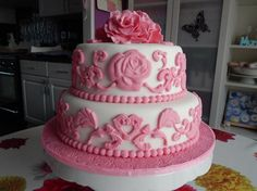 Birthday Cakes With Name Sudha ~ Pink girls birthday cake with flowers with name photo happy