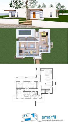 Bungalow Modern Contemporary European Style Architecture D Pool House Plans, Small House Floor Plans, Home Design Floor Plans, Sims House Design, Bungalow House Design, Contemporary House Plans, Modern House Plans, Modern Contemporary, Minimalist House Design