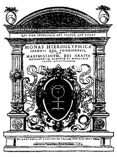 """John Dee's monad - Here it seems to be used to convey the union of male and female (and of all elements) which would allow the corporeal human form to transcend to a divine plane (note the symbol of the trinity above the peacock feathers, which resemble diagrams of the celestial spheres). To top it all off, the """"O"""" in """"Azoth"""" made out of John Dee's """"hieroglyphic monad""""!"""