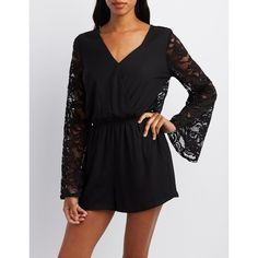 Charlotte Russe Lace-Trim Bell Sleeve Romper ($21) ❤ liked on Polyvore featuring jumpsuits, rompers, black, playsuit romper, open-back rompers, charlotte russe, bell sleeve romper and long-sleeve romper