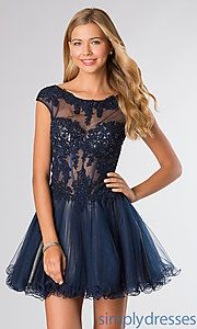 Buy Short Cap Sleeve Lace Dress at SimplyDresses