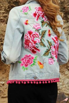 Jeans embroidery jacket roses
