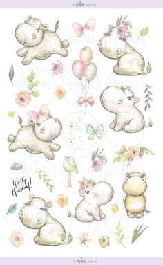 Hippo clipart Cute Hippos watercolor Mother and baby New Cute Hippo, Baby Hippo, Baby Animals, Cute Animals, Planner Stickers, Hippo Tattoo, Hippo Drawing, New Year Clipart, Alfabeto Animal