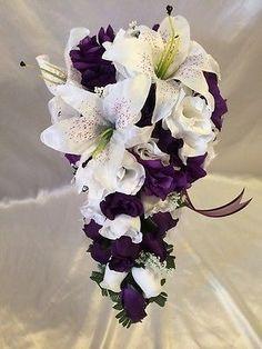 Purple-White-Wedding-Bridal-Bouquet-Cascade-Silk-Flower-Package-Tiger-Lily-22-Pc: #weddingflowers
