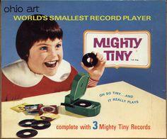 "Ohio Art Mighty Tiny, 1960s ~ ""World's Smallest Record Player"""