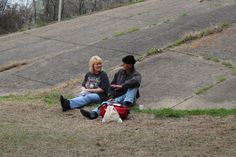 Wylie and me sitting beside the bridge talking at Church under the Bridge on a Saturday. Sitting with someone and listening ... sometimes a homeless friend just needs a friend.