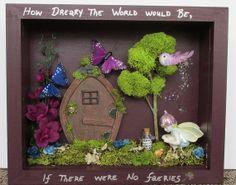 Handmade mixed media fairy shadow box with Napco by ShadowsofLove, $40.00