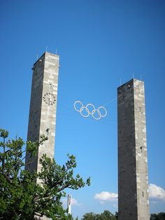 Olympic Rings at Berlin's Olympic Stadium, which was built for the 1936 Olympic Games.