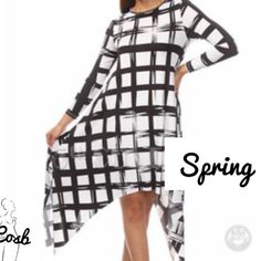 Black & White Windowpane Long Top Cute! Cute! Black & White Asymmetrical Dress/Long Top. Dress has windowpane like design, long sleeves, & it flows. Material is Rayon & Spandex. True 2 Size. Small-Large Cosb Dresses Asymmetrical