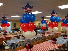 Fourth Of July balloon centerpiece www.dreamarkevents.com